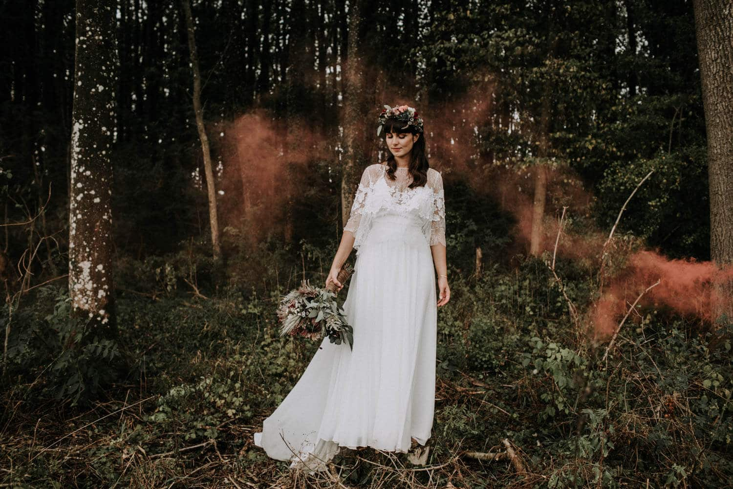 Amanda with her perfect wedding gown in the forest